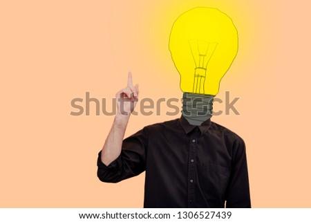 genius eureka moment, Man with a light bulb,  Unique idea