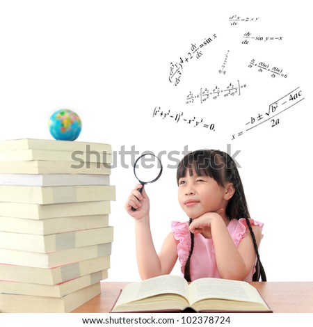 Genius little girl reading book isolated white background