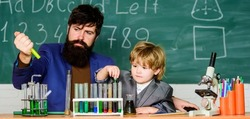 Genius minds. Special and unique. Genius child private lesson. Knowledge day. Genius kid. Joys and challenges raising gifted child. Teacher bearded scientist man child test tubes. Chemical experiment