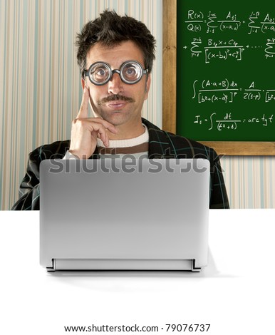 Genius nerd glasses silly man board math formula pensive gesture thinking expression [Photo Illustration]