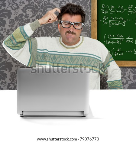 genius nerd silly glasses computer thinking gesture problem solution wallpaper background [Photo Illustration]