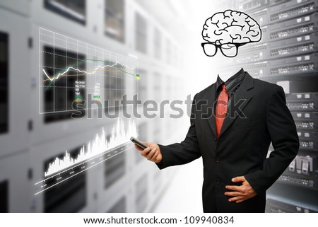 Genius programmer monitoring the system in data center room