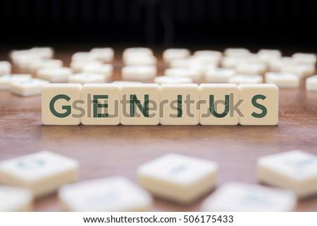 Genius word on block concept