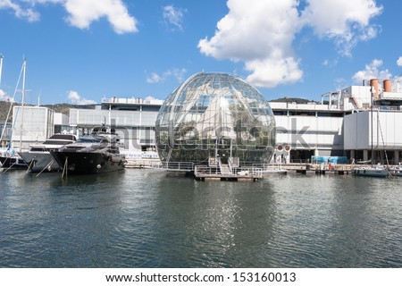 GENOA, ITALY - AUGUST, 28: External view of aquarium in the port on August 28, 2013 in Genoa. The port of Genoa is the busiest port of Italy and one of the most important in the Mediterranean area. #153160013
