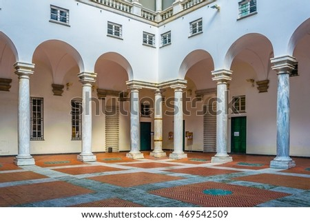 GENOA, ITALY, MARCH 13, 2016: detail of the main hall of the palazzo ducale in the italian city genoa