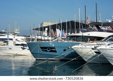 Genoa italy, September 21-26, 2017. 57th Boat Show, dedicated to Carlo Riva: some boats anchored in the harbor. #730520836
