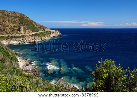 Genoese tower in corsica cape