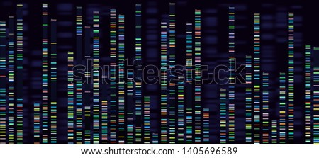 Genomic analysis visualization. Dna genomes sequencing, deoxyribonucleic acid genetic map and genome sequence analyse. Bioinformatics forensics data or dna radiographic testing  concept