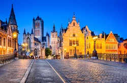 Gent, Belgium. The historic center of Ghent, embankment Graslei at night. Former center of the medieval harbor. Flanders.