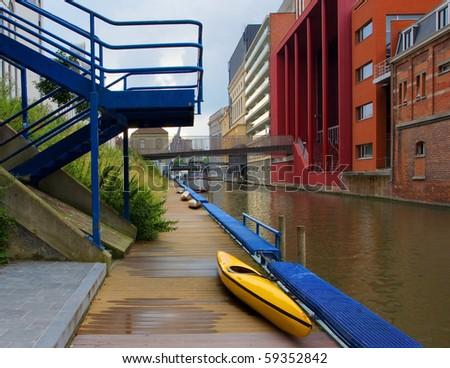 Gent, Belgium with kayak on foreground