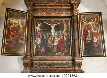 GENT - JUNE 23: Crucifixion from side altar in underground chapel of st. Baaf's Cathedral on June 23, 2012 in Gent, Belgium.