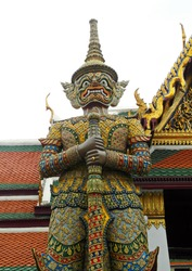 Gent stand guard in WatPhrakaew in Bangkok Thailand