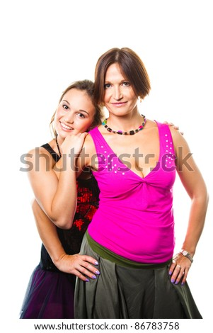 Gentle family relations of elegant mum with beautiful young daughter on isolated white background