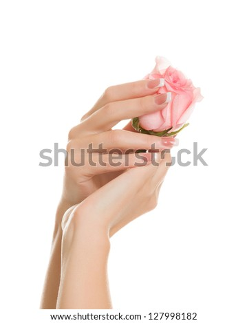 Gentle hands with a beautiful manicure