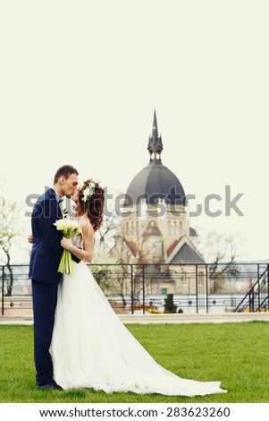 gentle stylish bride and groom posing on the background the beautiful architecture