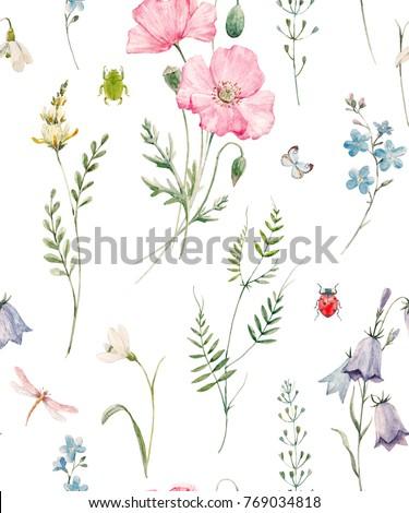 Gentle watercolor floral pattern, pink poppy, flower bell, green plants and leaves, butterflies, dragonflies and beetles. Delicate spring wildflowers