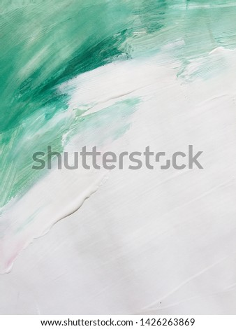 Gentle white and green abstraction with acrylics. beautiful background. modern Art #1426263869
