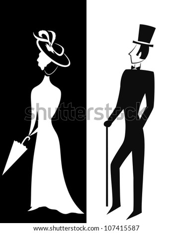 Gentleman and Lady, symbolic vintage style, black and white silhouette