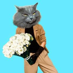 Gentleman Cat. Vintage clothing. Art collage. Minimal fun