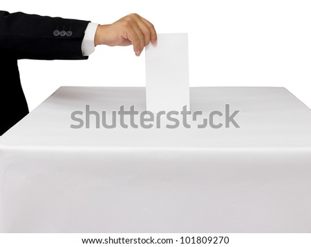 Gentleman hand putting a voting ballot in slot of white box isolated on white