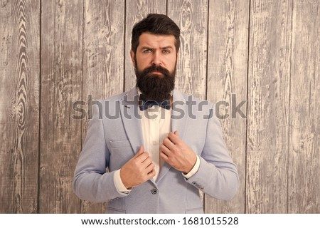 Gentleman style barber. Barber shop offer range of packages for groom. Barber shop concept. Beard and mustache. Guy well groomed handsome bearded hipster wear tuxedo. Romantic wedding outfit.