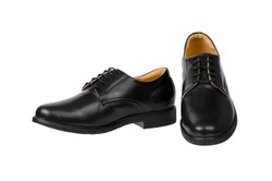 Genuine black Leather men derby shoes isolated on white background.