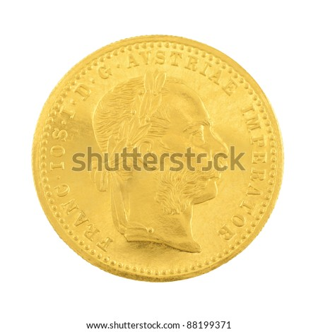 Genuine gold coin isolated on white background.