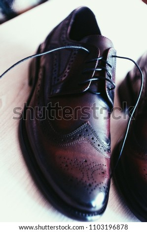 Genuine leather Italian  man shoes. Oxfords. Dark brown and vinous color. Classic Vintage style #1103196878