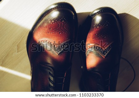 Genuine leather Italian man shoes. Oxfords. Dark brown and vinous color. Classic Vintage style #1103233370