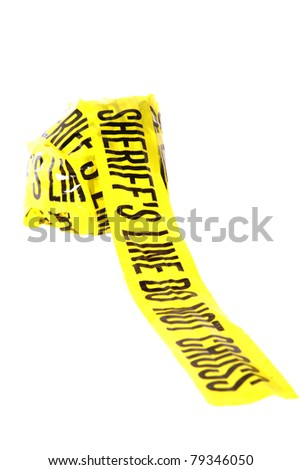 "Genuine ""Sheriff's Line Do Not Cross"" caution tape collected from the scene of a murder. Isolated on white with room for your text"