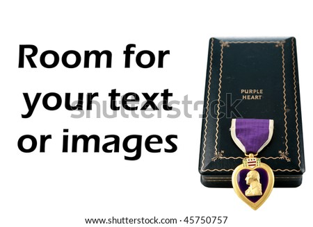 Genuine world war two purple heart and case isolated on white with room for your text or images