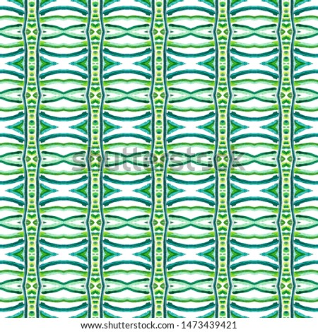 Geo Art. Endless Repeat Painting.  Indian, Aztec, Mexican, African,  Ornament. Modern Abstract. Folk Textile. Blue, Green, Lime, Mint Tile. Chevron Surface.