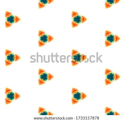 Geo Art. Endless Repeat Painting.  Mandala, Medallion, Floral, Flower Ornament. Geo Art. Tribal Ethnic Rug. Green, Orange Mosaic. Ornamental Art.