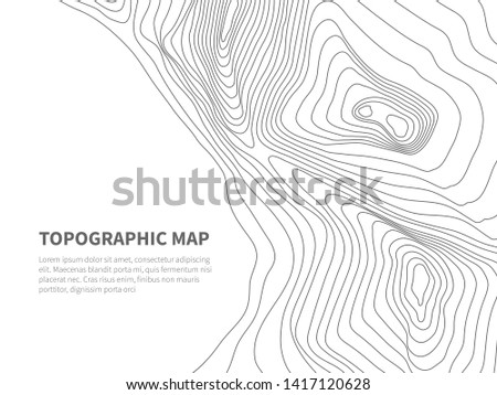 Geodesy contouring land. Topographical line map. Geographic mountain contours background. Topography and cartography mountain landscape contour illustration