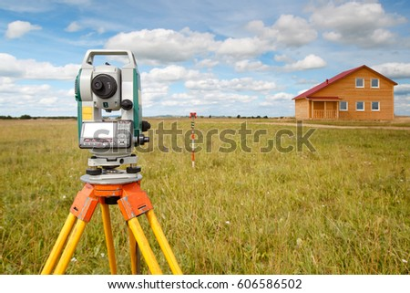 Geodetic work. Metering of land for sale.