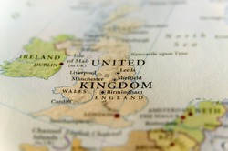 Geographic map of European country United Kingdom with important cities