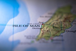 Geographical map location of country Isle of Man in Europe continent on atlas
