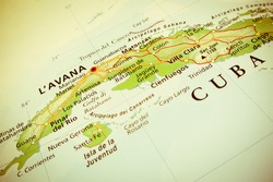 Geographical view of Cuba (Geographical view altered on colors/perspective and focus on the edge. Names can be partial or incomplete)