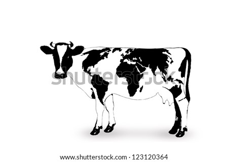 geography cow - cow with world map