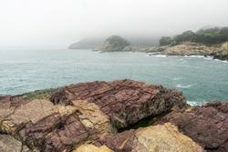 Geoje island Sinseondae Cliff various rock formations and coastal view. TAken in Geoje, South Korea