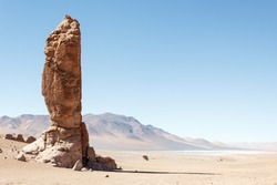Geological monolith, The Indian Stone, near Salar de Tara, Los Flamencos National Reserve, Atacama Desert,Chile