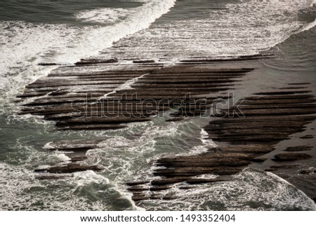 Geological rock formations and cliffs on the Flysch route. Cantabrian Sea. In Vizcaya, Basque Country. Spain #1493352404