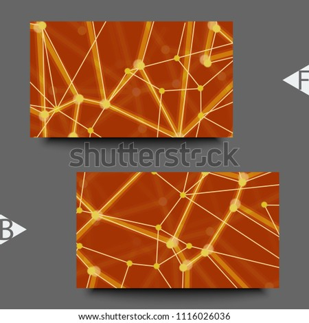 Geometric abstract background with connected line and dots. Structure molecule and communication. Business card template with abstract background.