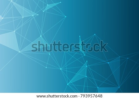Geometric abstract background with connected line and dots. Structure molecule and communication. Big Data Visualization. Medical, technology, science background.  illustration.