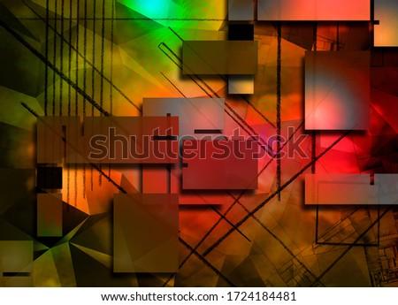 Geometric Abstract. Modern digital art. 3D rendering