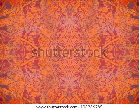 Geometric, abstract, vintage, retro, grungy, arabesque ornamented tile in orange and purple. Good for islamic, arabian, middle east, scrapbooking, damask, abstract or interior design.