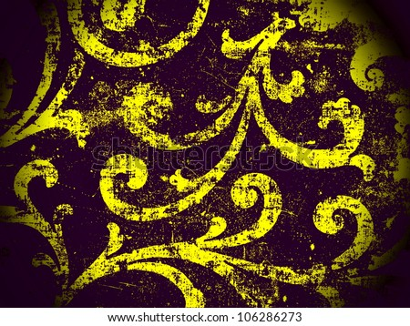 Geometric, abstract, vintage, retro, grungy, arabesque ornamented tile in purple and yellow. Good for islamic, arabian, middle east, scrapbooking, damask, emo, halloween, abstract or interior design.