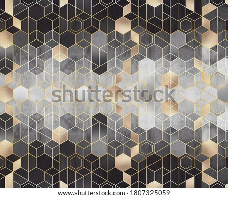 Geometric abstraction of hexagons on a black and white relief background with gold elements. Mural for interior painting. Wall painting.