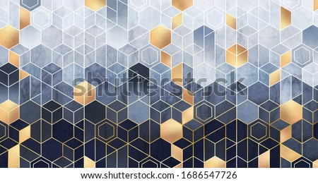 Geometric abstraction of hexagons on a blue relief background with gold elements. Fresco for interior printing, Wallpapers. Mural art.