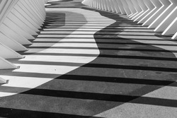 Geometric architectural pattern, shadows, and lines black and white for futuristic and model concepts and art work.